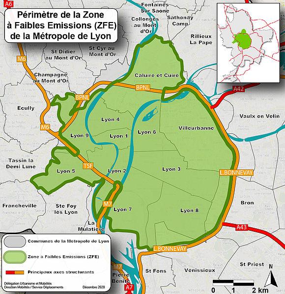 Périmètre de la Zone à Faibles Emissions (ZFE) de la Métropole de Lyon